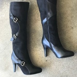 New! Italina Black 2 Texture Heeled Knee High Boot